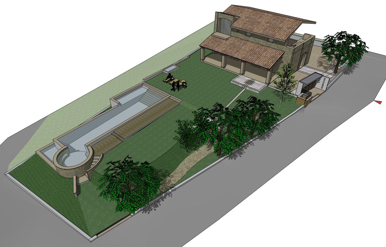 Slideshow immagini del corso sketchup base - Progetto villa con piscina ...